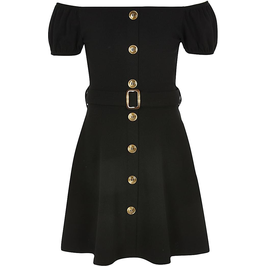 Girls black belted bardot dress