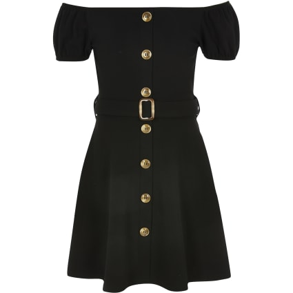 Girls black belted bardot dress