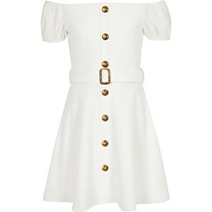 Robe Bardot blanche à ceinture fille