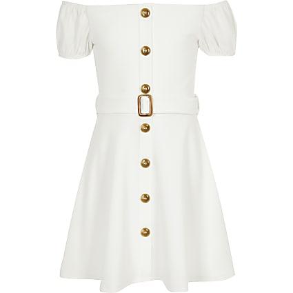 Girls white belted bardot dress