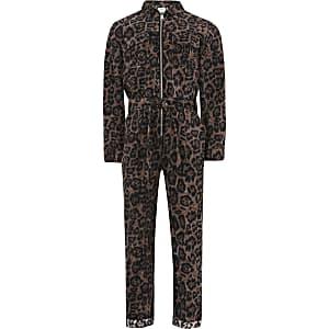 Bruine corduroy jumpsuit met luipaardprint voor meisjes