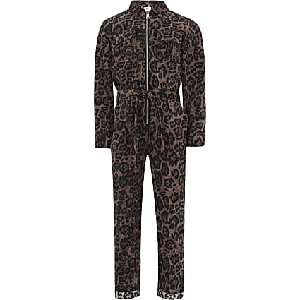Girls brown leopard print corduroy jumpsuit