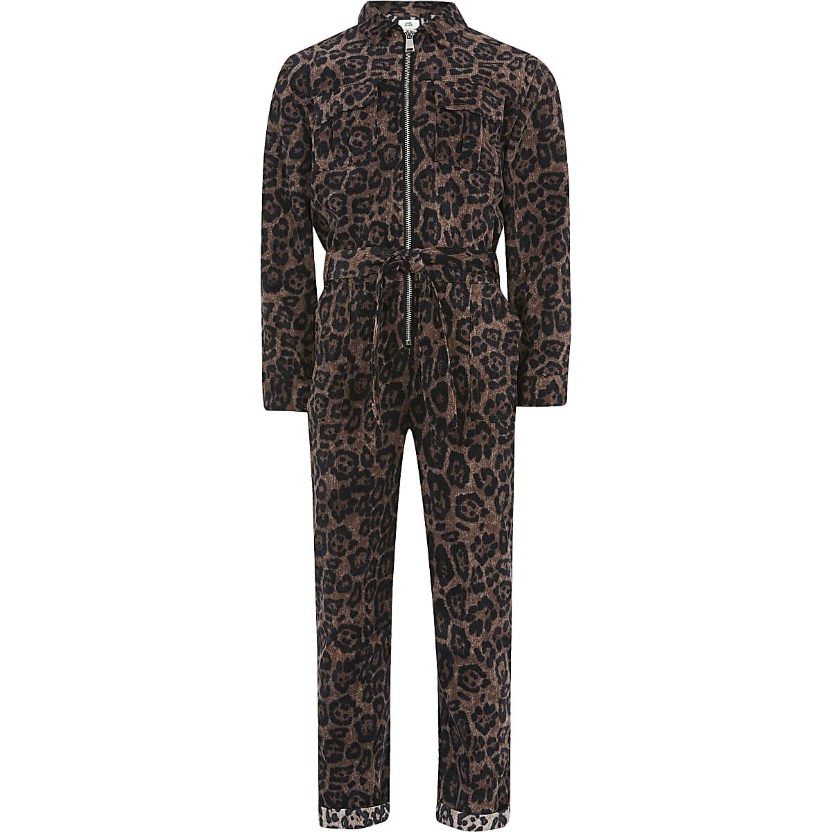 Girls brown leopard print corduroy jumpsuit