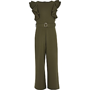 Girls khaki belted frill jumpsuit