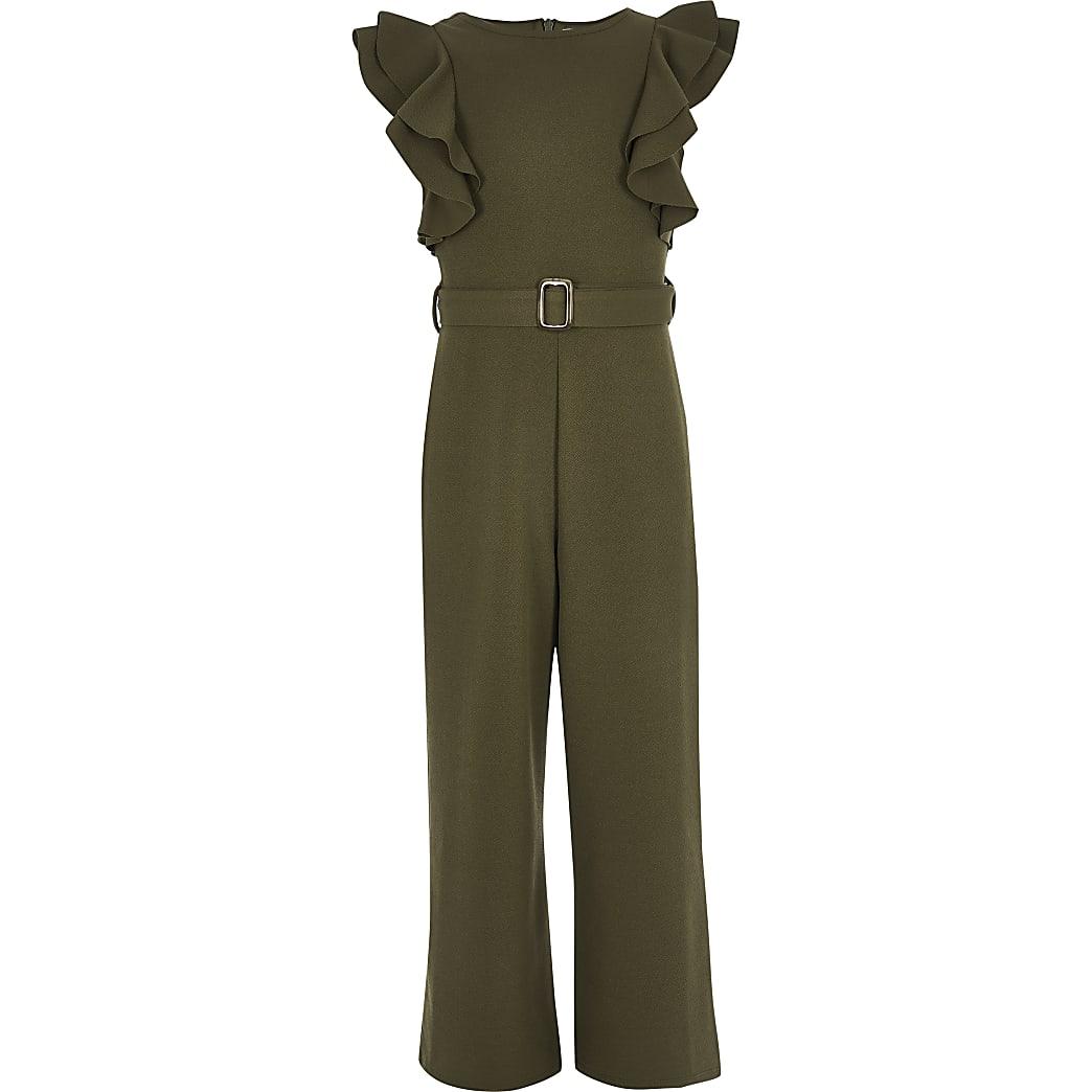 Girls khaki belted frill jumpsuit