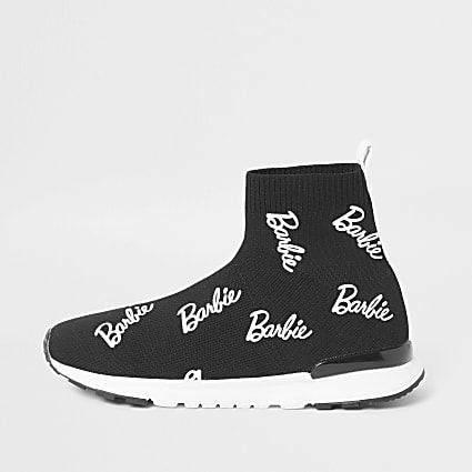 Girls black Barbie sock trainers