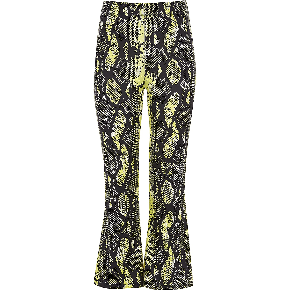 Girls yellow snake print flared trouser