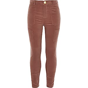 Pinkfarbene Utility-Hose aus Cord für Mädchen