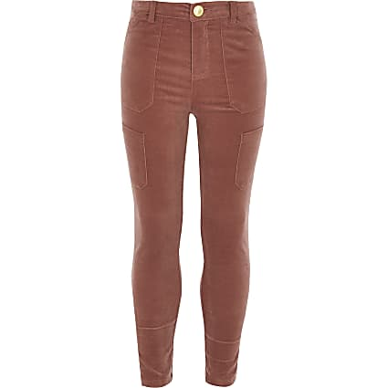 Girls pink cord utility trousers