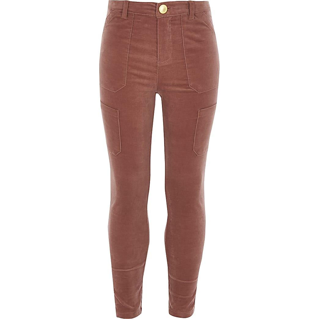 Pantalons utilitaires en velours côtelérose pour fille