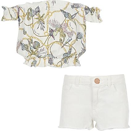 Girls white chain print bardot top outfit