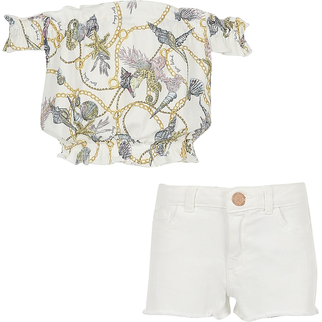 Girls white chain print bardot top outfit