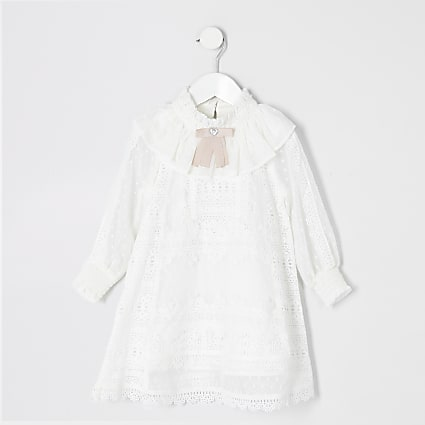 Mini girls white lace bow collar dress