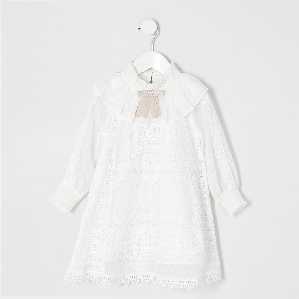 Mini girls white lace bow collar dress