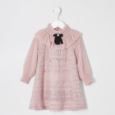 Mini Girls Pink Lace Bow Collar Dress by River Island
