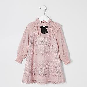 Mini - Roze jurk met strikkraag en kant voor meisjes