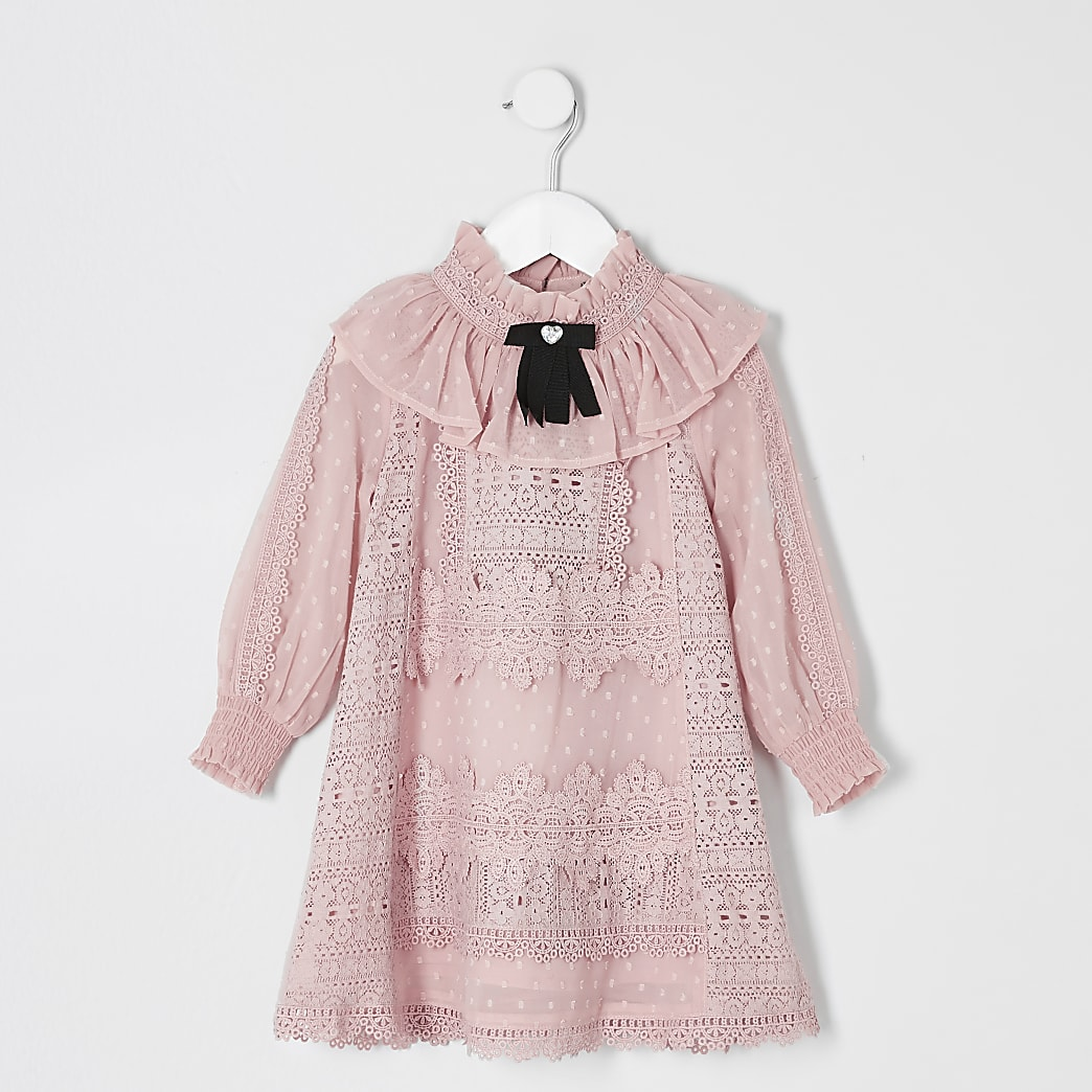 Mini girls pink lace bow collar dress