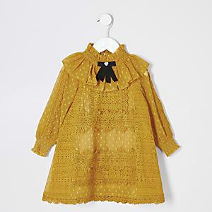 Mini - Donkergele kant jurk met strikkraag voor meisjes