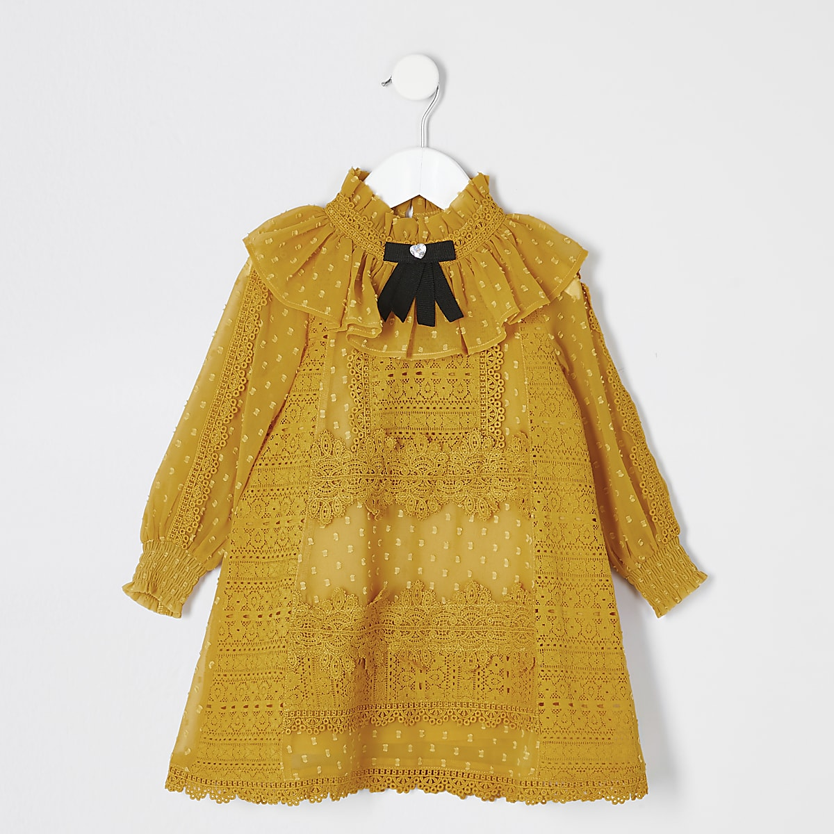Mini Girls Dark Yellow Lace Bow Collar Dress