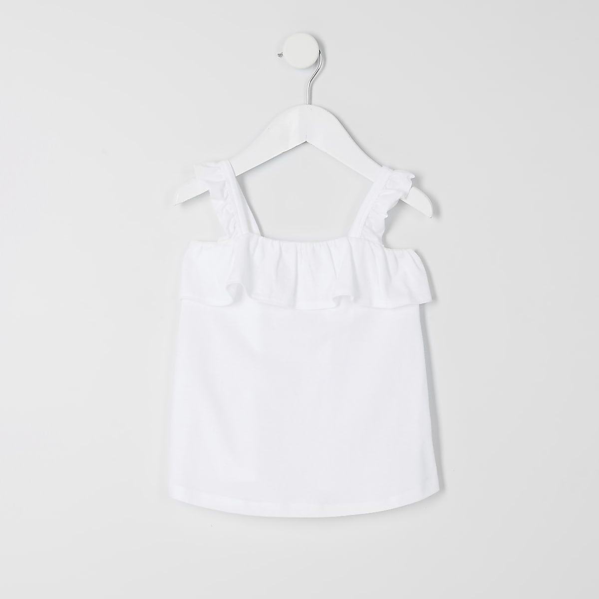 Mini girls white frill cami top