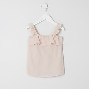 Mini girls pink frill cami top
