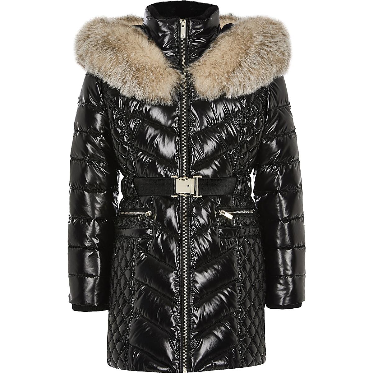 Girls black high shine padded longline jacket