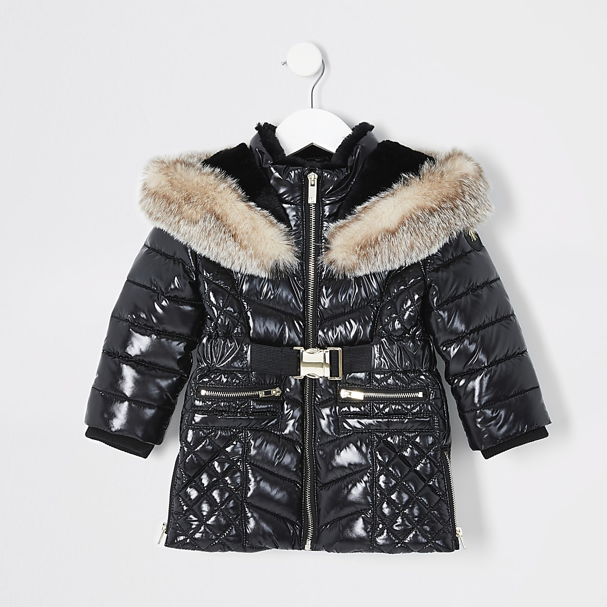 Mini girls black high shine longline coat