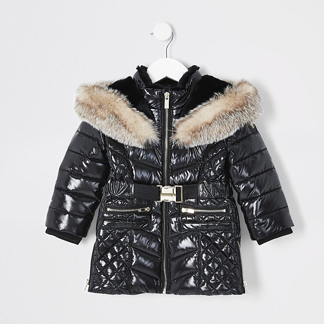 Mini girls black high shine longline coat