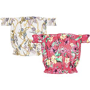 Multipack roze bardottops met print voor meisjes