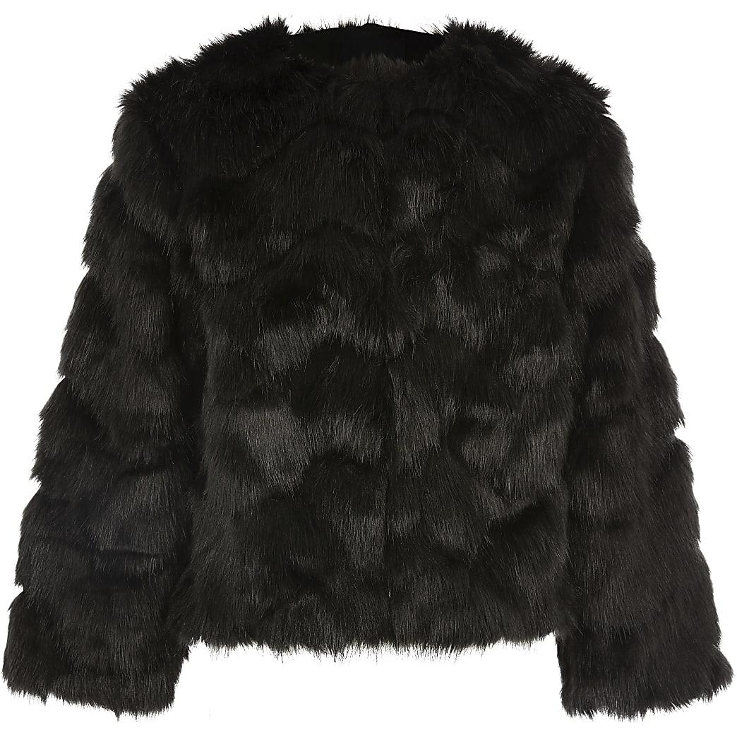 Girls black faux fur coat