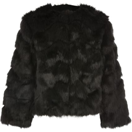 Girls black faux fur coat