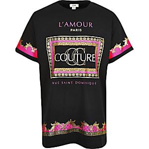 Zwart T-shirt met neonkleuren en Couture-print voor meisjes
