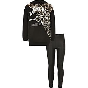 Schwarzes Outfit mit Hoodie im Leoparden-Lookfür Mädchen