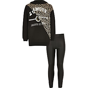 Ensemble noir avec sweat à capuche imprimé léopard pour fille