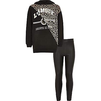 Girls black leopard printed hoodie outfit
