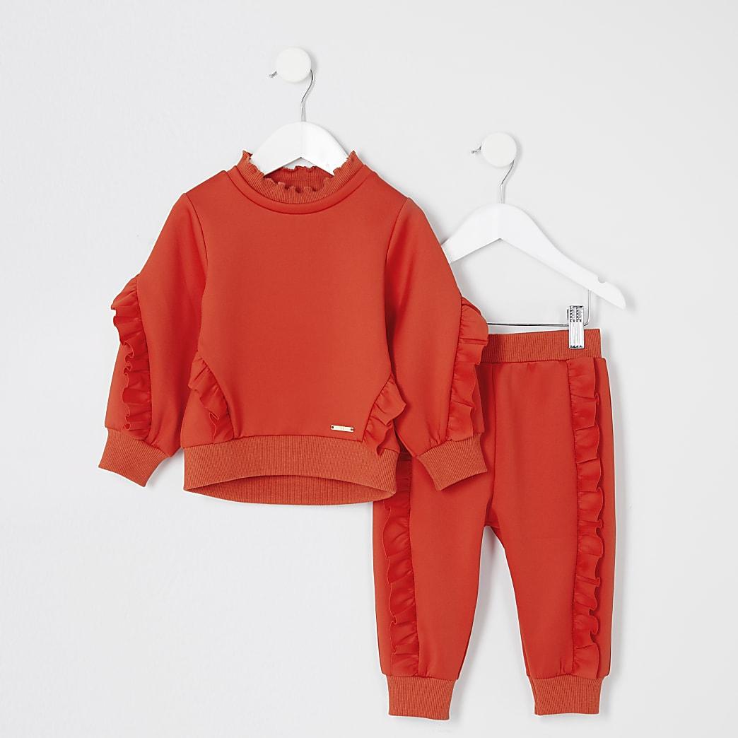 Mini - Oranje sweater outfit met ruches voor meisjes