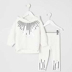 Mini - Witte hoodie outfit met lovertjes en RI-letters voor meisjes