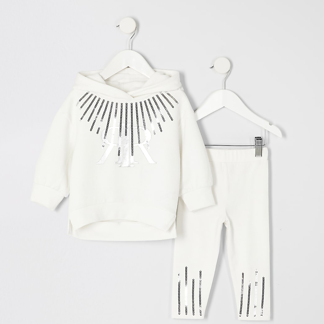 Mini girls white RI sequin hoodie outfit