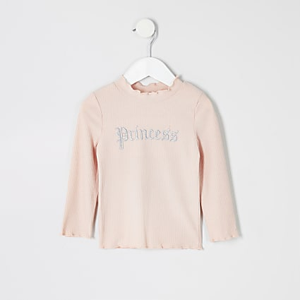 Mini girls pink 'Princess' embroidered top