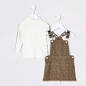 Braunes Trägerkleid-Outfit mit Leopardenprint für kleine Mädchen