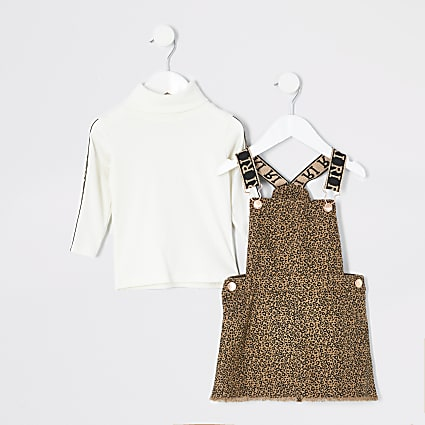 Mini girls brown leopard pinafore outfit
