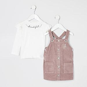 Mini – Rosa Cord-Trägerkleid im Set für Mädchen
