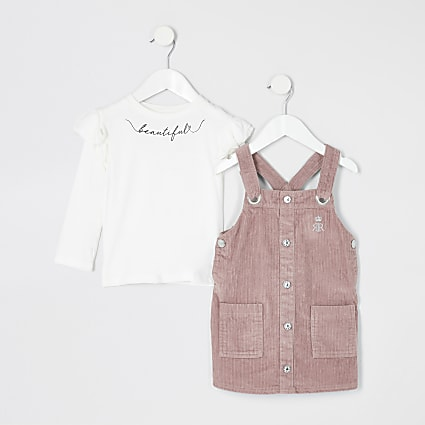 Mini girls pink corduroy pinafore outfit
