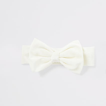 Baby cream velour bow headband