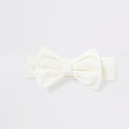 Baby cream velour bow headband