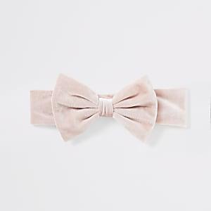 Roze hoofdband van velours met strik voor baby's