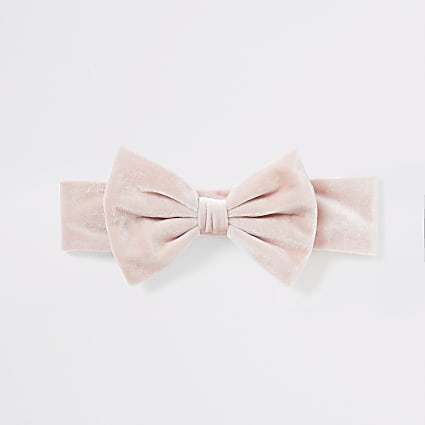 Baby pink velour bow headband