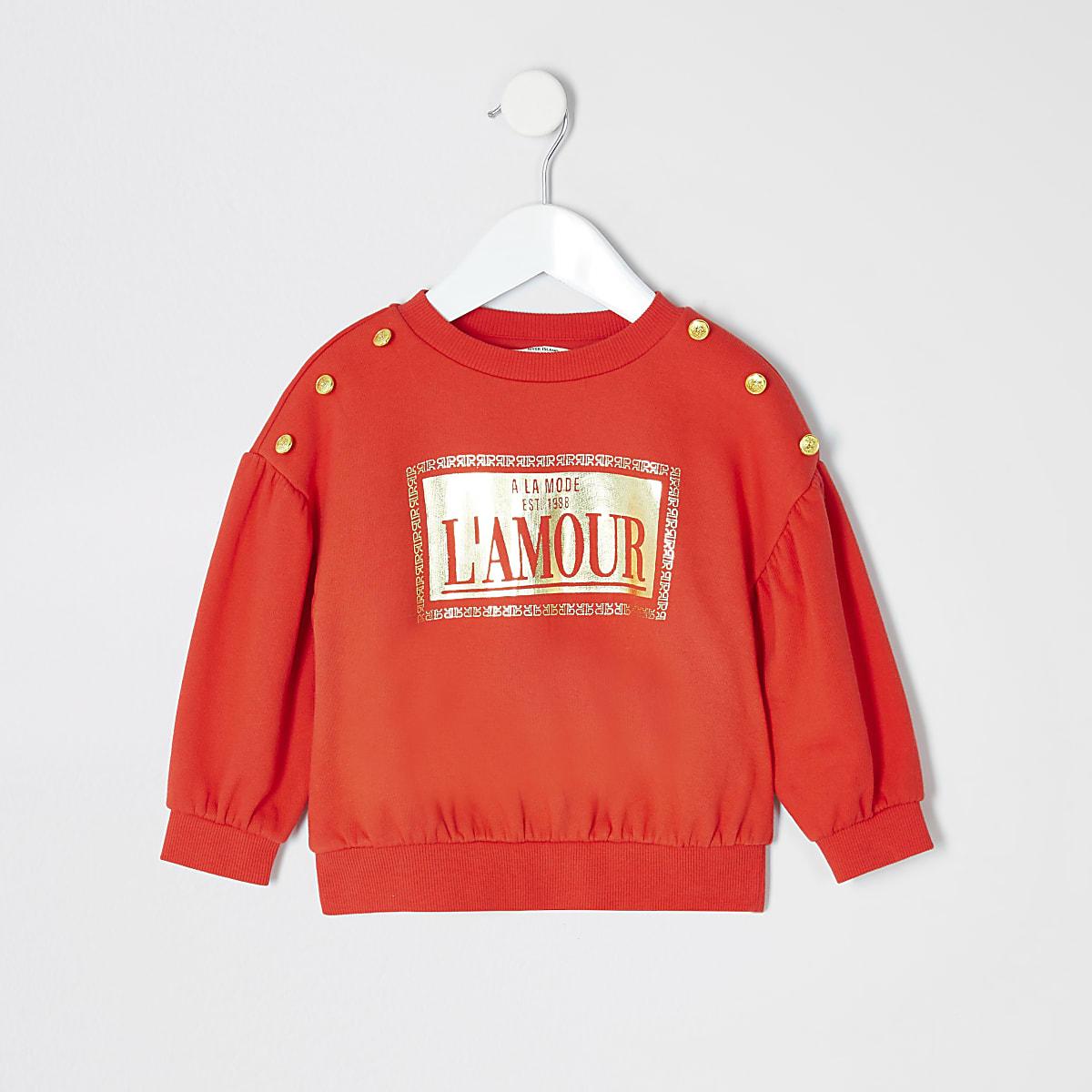 Mini - Rode sweater met folieprint voor meisjes