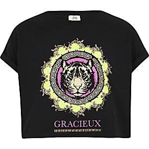 T-shirt imprimé tigre fluo noir pour fille