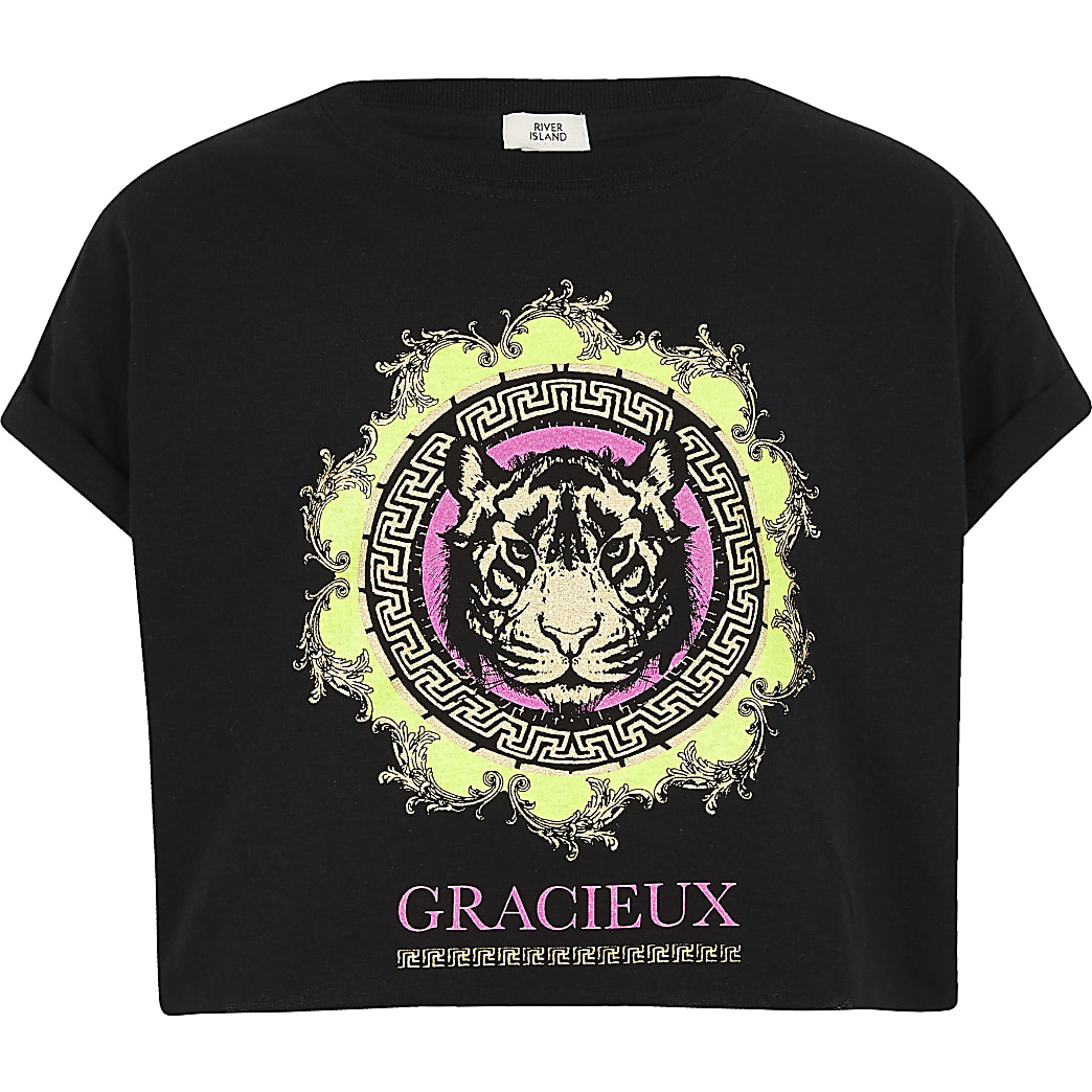 Girls black neon tiger print T-shirt